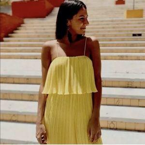 Zara women's yellow pleated jumpsuit one piece